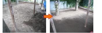 砂場の消毒洗浄・環境改善